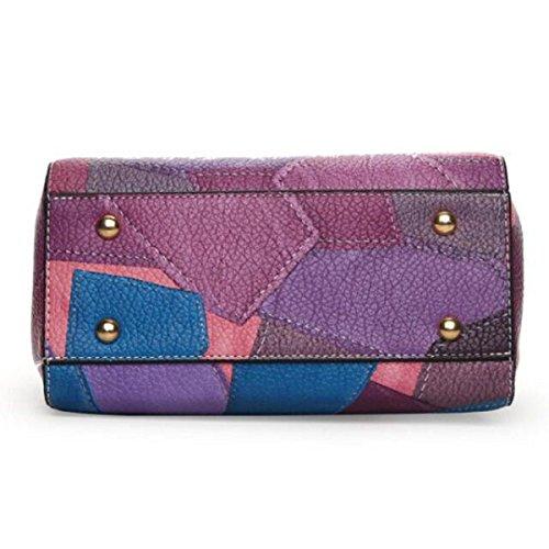 Borse In Sacchetto Quadrato Piccole Cuciture In Cuoio Colorato Borsa A Tracolla Con Manico In Ferro Di Moda Pacchetto Diagonale,Purple Gray
