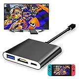 fyoung USB zu HDMI Adapter für Nintendo der U89Switch, HDMI Konverter Kabel für Nintendo Schalter Schwarz Schwarz