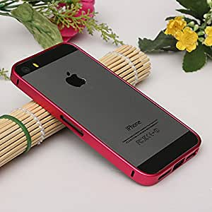 Phoenix 0.7 mm Aluminium Metal Clip on Bumper Frame Case Detachable Rose Red with Buttons for iPhone 5 5G 5S