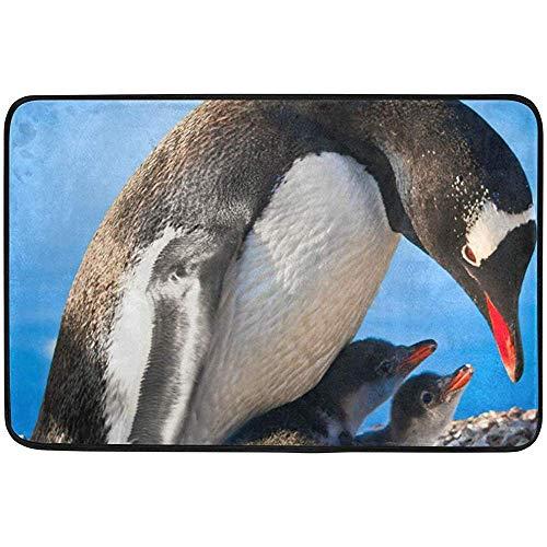 Klotr Fußabtreter, Penguin Mother Children Doormat 15.7 x 23.6 inch, Living Room Bedroom Kitchen Bathroom Decorative Lightweight Foam Printed Rug -