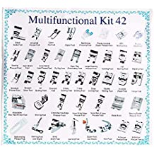 Juego de 42 piezas multifunción de pies prensatelas para máquina de coser doméstica: trenzado,
