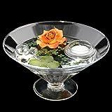 Runde Glas-Schale Kegel groß Höhe 12cm ø 22cm. Flache kegelförmige Glasschale auf Fuß mit Dekoration Rose braun-rot Deko-Schale von Glaskönig