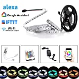 Simfonio LED Strip 5m - LED Stripes Arbeitet mit Alexa, Google Home, IFTTT, Wifi Wireless Smart Phone Gesteuert - LED Band 5m 5050SMD 150 LED RGB Strip Full Kit - LED Streifen Kit mit Fernbedienung & Netzteil