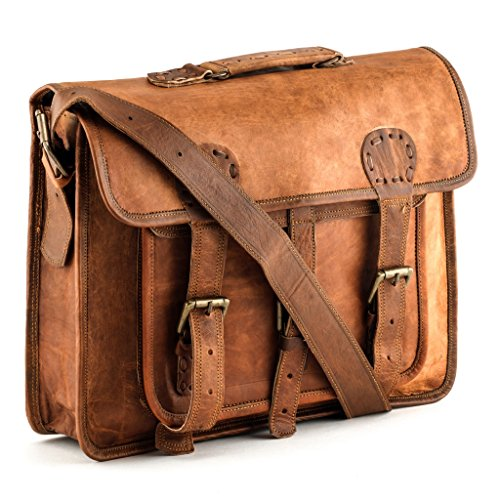 A.P. Donovan - Umhängetasche aus braunem Leder für Männer - Laptop-Tasche bis 15