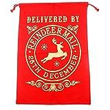 TRIXES Grand Sac de Noël Rouge à Corde Renne Père Noël Bureau de Poste