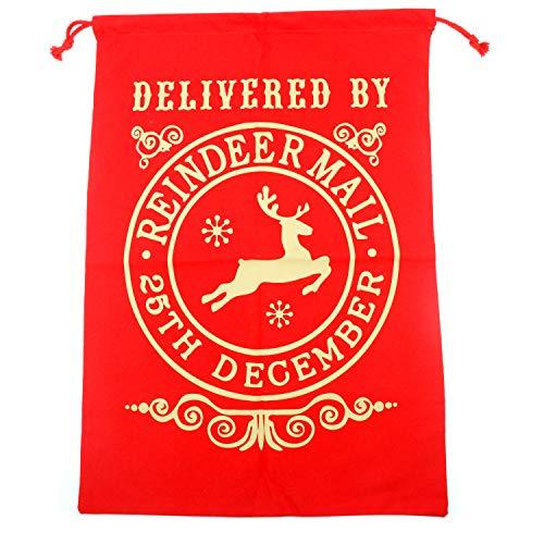 TRIXES Saco Grande Rojo con Cordones para Navidad