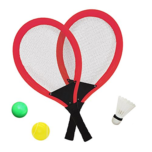 YIMORE Tennisschläger Badminton Racket Set mit Bälle Softball 3 in 1 Spielzeug für Kinder ab 3 4 Jahren (Rot)