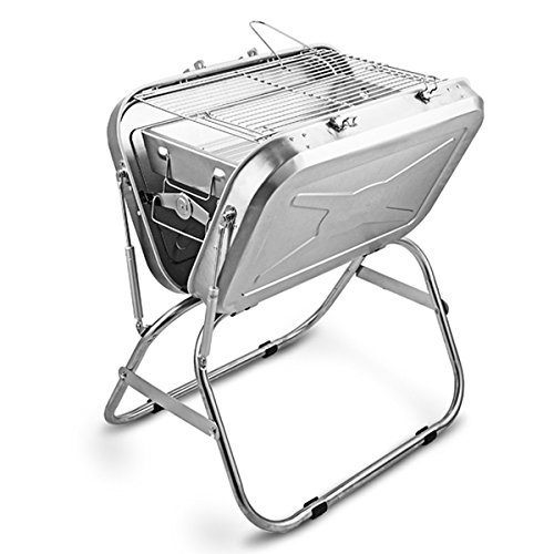 Cowekai Standard Portable Holzkohlegrill Classic Barbecue Grill Edelstahl Holzkohle BBQ Grill für Camping Tailgating und Picknick