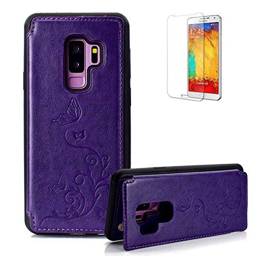 Lila Stoßfest Brieftasche für Samsung Galaxy S9 Plus,Funyye Stilvoll Klassisch Schmetterling Geprägtes Slim Folio Flip Stand Lederhülle mit Kartenhalter Rückseitige Abdeckung + 1 x Frei Displayschutzfolie