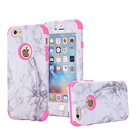 xifanzi 360 Full Protective Case for iPhone 6S iPhone 6 Hard Hybrid Plastic Slim Cover for iPhone 6/6S Marble Pattern Rose Red Back Cover Full Body Coverage Cell Phone Protection for Apple iPhone 6S/iPhone 6