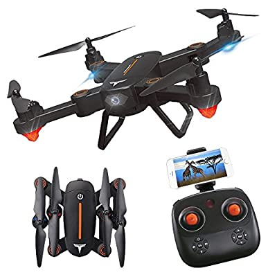 KINGBOT RC Drone, F16 Foldable Drone with HD WiFi Camera and LED Lights Two Rechargeable Batteries (Black) from KINGBOT
