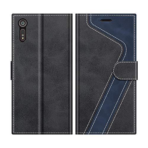 MOBESV Handyhülle für Sony Xperia XZ Hülle Leder, Sony Xperia XZ Klapphülle Handytasche Case für Sony Xperia XZ Handy Hüllen, Modisch Schwarz
