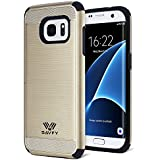 Coque Galaxy S7 Edge anti- choc, SAVFY Coque Samsung galaxy S7 Edge Double couche Hybrid Ultra-Mince Armure Defender PC + TPU Housse Bumper, Or