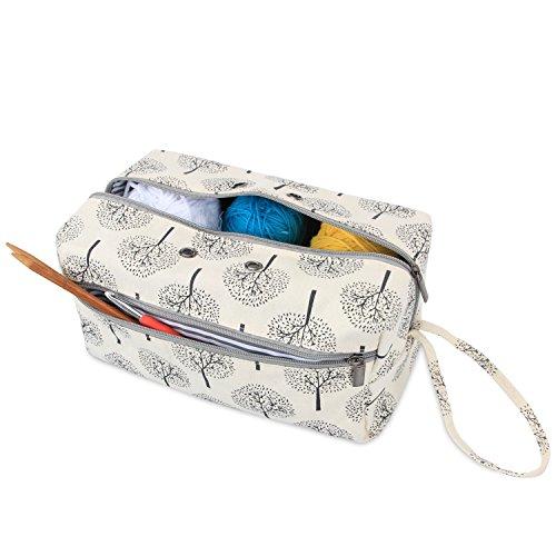 Luxja Tasche für Wolle, Handarbeitstasche Häkeln, Stricken Tasche für Garn Stränge, Häkelnadeln, Stricknadeln (bis 10 Zoll) und Andere Kleines Zubehör -