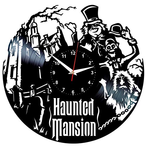 EVEVO Haunted Mansion Wanduhr Vinyl Schallplatte Retro-Uhr groß -