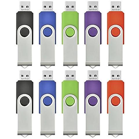 AreTop 10 stück 2GB Rotate Metall USB-Stick Mehrfarbig high speed USB 2.0 (Rot,Grün,Schwarz,Blau,Violett)