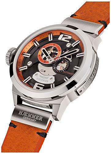 HÆMMER Strong Desire Skeleton Herren-Automatikuhr aus Edelstahl | Exklusiv Limitierte Herren-Uhr mit Kalbsleder Armband | Luxus-Uhr mit Hochglanzzeiger in Silber-schwarz