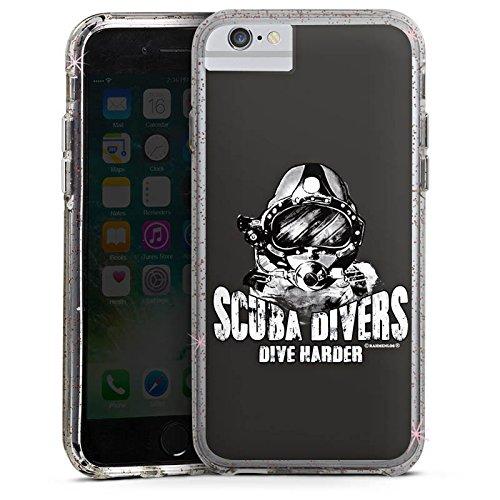 Apple iPhone 6 Bumper Hülle Bumper Case Glitzer Hülle Scuba Divers Dive Harder Taucher Diving Bumper Case Glitzer rose gold