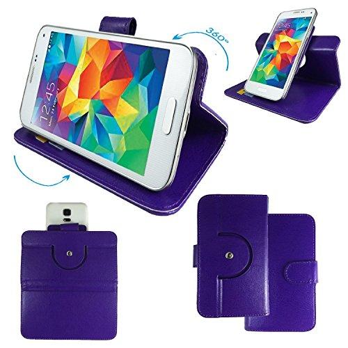 ZTE Grand Memo LTE Smartphone Tasche / Schutzhülle mit 360° Dreh und Standfunktion - 360 Lila Nano XL