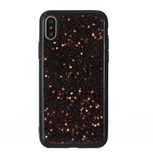 iPhone X Coque TPU Full Body,iPhone X Case Crystal Clear,Hpory Beau élégant Luxury [Full Body] [Tactile 360 Degrés] Ultra Thin Transparent Soft TPU Gel Silicone Cristal Clair Etui Housse de Protection Star,Or rose