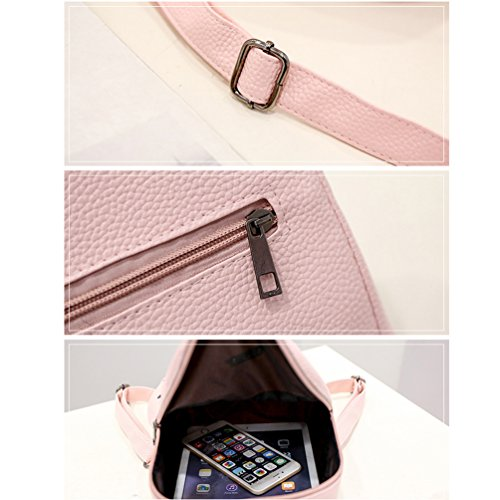 Vbiger PU-Leder-Rucksack Trendy School Shoulders Bag Casual Rucks?cke Kompakter Reise-Tagesrucksack f¨¹r Frauen Rosa