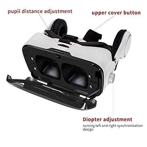 3D VR Headset, Anskp 3D Virtual Reality Glasses with Headphone and Bluetooth Remote Controller for 3D Movies Video Games, Support iPhone 7 / 6 / 6 Plus / 5S / 5, Galaxy S7 S6 S5 Moto HTC Huawei and Other 4.0- 6.0 Inches Android iOS Smartphones (White)