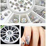 Nero + Chiaro Ab 600pc Chiodo Arte Strass Gems Cristallo Decorazione luccichio Impostato Diamante gemma Cristalli decorazioni per Unghie Decorazione