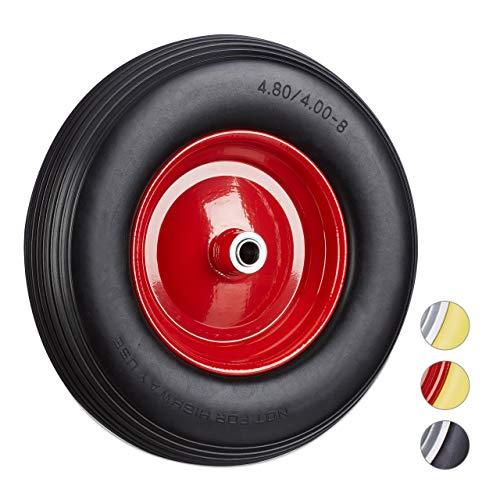 Relaxdays Schubkarrenrad 4.80 4.00-8, Vollgummireifen u. Stahlfelge, Ersatzrad pannensicher, 100kg Traglast, schwarz-rot