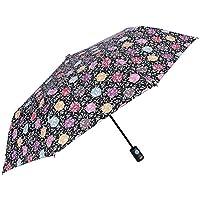 Small Folding Umbrella Women Girls - Flowers and Polka Dots Design - Resistant Windproof Light Brolly in Fiberglass - PFC Free - Automatic Opening - Diam 96 cm - Perletti Technology