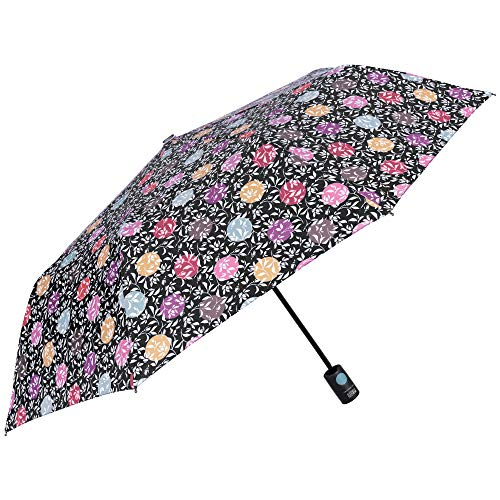 d48e3c19f8f4 Automatic Windproof Folding Umbrella for Women - Flowers and Polka Dots  Design - Resistant Strong Lightweight Brolly in Fiberglass - PFC Free - ...