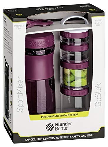 BlenderBottle Combo Pak | Sportmixer Shaker und Gostak Starter 4Pak | mit Henkel | in einer attraktiven Geschenkverpackung - plum