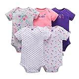 TUDUZ 5 Stücke Neugeborenes Baby Jungen Mädchen Print Kleidung Täglichen Spielanzug Playsuit Jumpsuit für 0-24 Monate (C, 0-6 Monate)