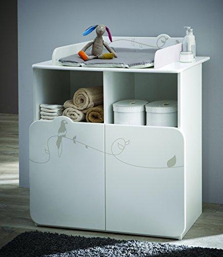 Demeyere 316202 Jungle Commode Table Lange avec 2 Portes/2 Niches Blanc/Beige 87 x 73 x 101 cm