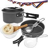 Aodoor 11-Teilige Outdoor Kochgeschirr-Set, Koch-Ausrüstung Kochausrüstung für Outdoor Wandern Picknick, Pfanne aus Aluminium und Edelstahl   Camping Lanyard   Tragetasche