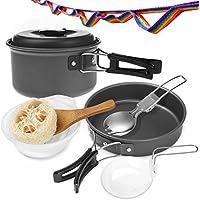 Aodoor Camping Cookware Kit esterna, 11 pezzi di alluminio anodizzato