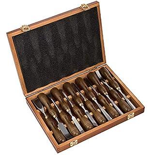 IMOTECHOM Holz-Schnitzwerkzeug Set mit Walnussgriff 12-teilig, Holzlager Gehäuse, MEHRWEG