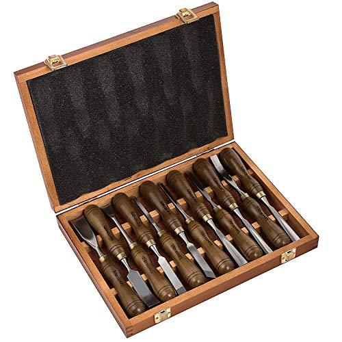 IMOTECHOM Holz-Schnitzwerkzeug Set mit Walnussgriff 12-teilig, Holzlager Gehäuse, MEHRWEG - Crv Holz