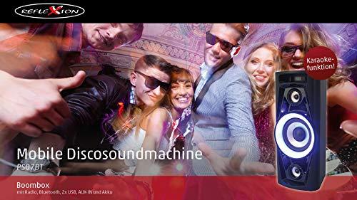 Reflexion PS07BT Mobile Discosoundmaschine (inkl. Bluetooth, Radio, 2x USB, AUX-IN, Karaokefunktion und Akku) schwarz - 3