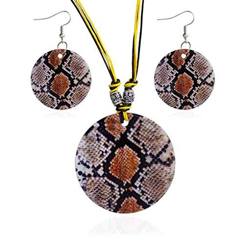 Rekkles Frauen Schlange Leopard Runde Haken Art und Weise Halsketten-Satz-Ohrring-Halsketten-Satz natürliche Shell-Schmuck-Set -