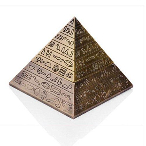 Cenicero creativo de la pirámide Diseño retro del grabado del tirón Decoración clásica europea de la personalidad de la manera (Color bronce)