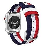 MoKo Bracelet pour Apple Watch Series 5/4/3/2/1 42mm, Bande Sportive de Remplacement en Nylon Tissé pour Tous Les modèles d'Apple Watch 42mm Series 5/4/3/2/1, Bleu & Blanc & Rouge