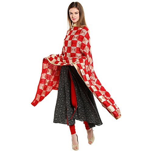 Dupatta Bazaar Woman\'s Red & Beige Embroidered Phulkari Chiffon Dupatta