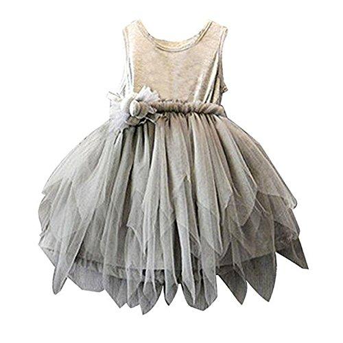 Babybekleidung Baby-Mädchen Kleidung Festlich Kleid Prinzessin Hochzeit Taufkleid Festkleid (110 (3-4 Jahre), Grau)
