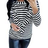40%-60% Off!Ieason Women's Cotton Top Long Sleeve Striped O Neck T-Shirts Loose Tunic Blouse
