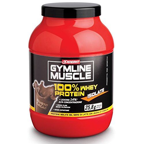 Enervit GY MLine Muscle Whey 100% Protein Isolate Integratore Alimentare per lo Sport di Proteine del Siero di Latte Isolate, Gusto Cacao - 700 gr