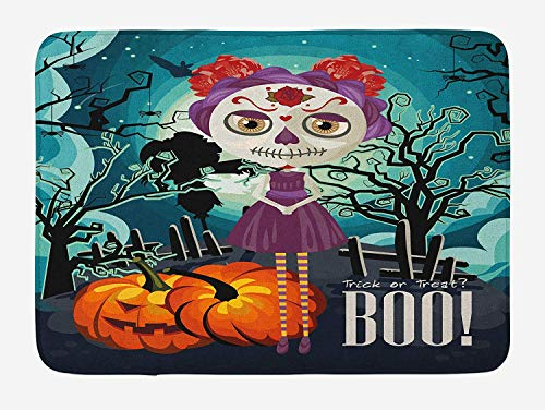 h Mat, Cartoon Girl with Sugar Skull Makeup Retro Seasonal Artwork Swirled Trees Boo, Plush Bathroom Decor Mat with Non Slip Backing, 23.6 W X 15.7 W Inches, Multicolor ()