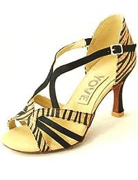 shangyi No personalizable–kubanischer tacón–ante–Latin–Mujer Dorado dorado Talla:us5 / eu35 / uk3 / cn34 wOmCG0C