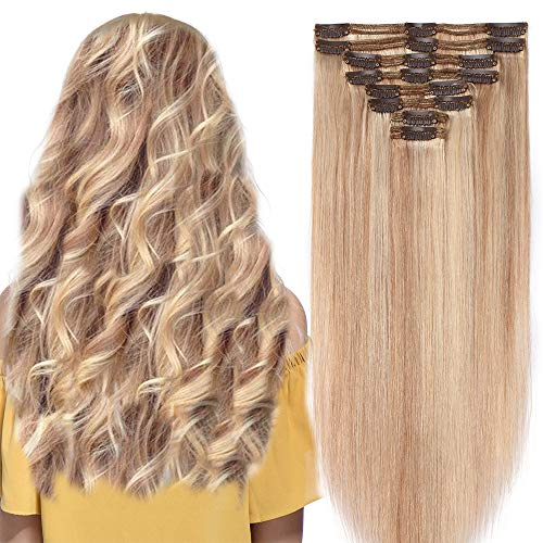 Extension capelli veri clip mèches double weft 8 fasce remy human hair xxl full head set lisci lunga 35cm pesa 120g, #18 biondo cenere mix #613 biondo chiarissimo