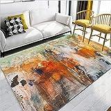 MLAH Nordic Watercolour Moquette Arancione, Inchiostro Pittura A Olio Astratta Breve Cristallo Velvet Tappeti Living Room Divano Tavolino Tappeto,80cmX120cm