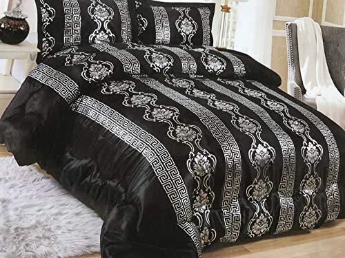 König 3-teiliges Set (Deko-König 3 teiliges Versus Tagesdecke Set Bettdecke Bettüberwurf (Schwarz))